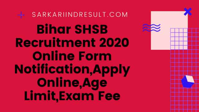 Bihar SHSB Recruitment 2020 Online Form Notification,Apply Online,Age Limit,Exam Fee